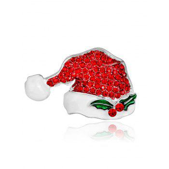 Rhinestone Tiny Christmas Hat Brooch - RED RED