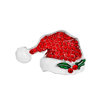 Rhinestone Tiny Christmas Hat Brooch -  RED