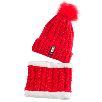 Letter B Label Knitted Pom Hat and Scarf - BRIGHT RED