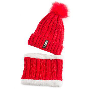Letter B Label Knitted Pom Hat and Scarf - BRIGHT RED BRIGHT RED