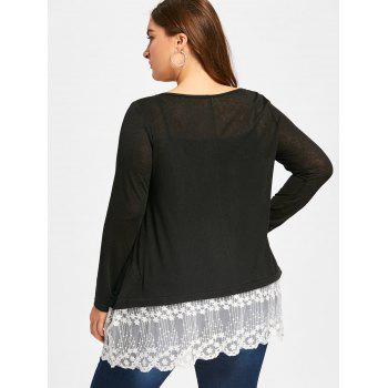 Plus Size Lace Panel Scolloped T-shirt +Cami Top - BLACK BLACK