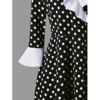 Plus Size Flounce Bowknot Polka Dot Vintage Surplice Dress - WHITE/BLACK 5XL