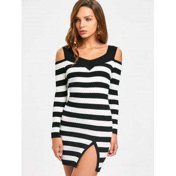 Cold Shoulder Slit Striped Bodycon Dress - ONE SIZE ONE SIZE