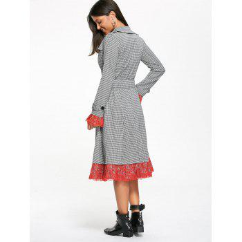 Belted Houndstooth Printed Lace Trim Long Coat - S S