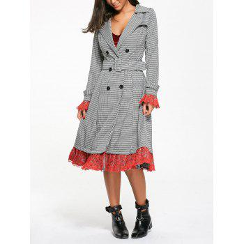 Belted Houndstooth Printed Lace Trim Long Coat - WHITE AND BLACK 2XL