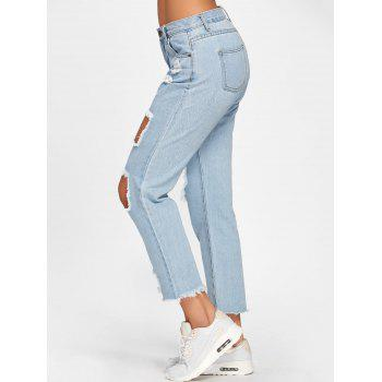 Faded Destroyed Jeans - LIGHT BLUE M
