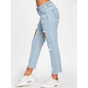 Faded Destroyed Jeans - LIGHT BLUE XL