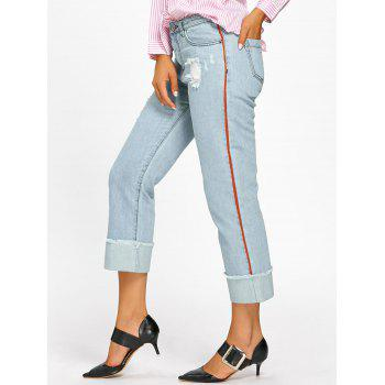Frayed Faded Cuffed Jeans - LIGHT BLUE M