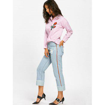 Frayed Faded Cuffed Jeans - LIGHT BLUE L