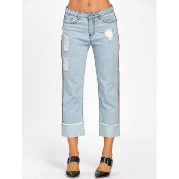 Frayed Faded Cuffed Jeans - L L