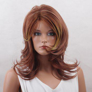 Long Colormix Side Bang Layered Tail Upwards Natural Straight Synthetic Wig - COLORMIX COLORMIX
