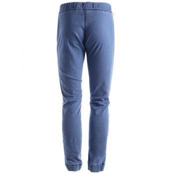 Stretchy Drawstring Jogger Jeans - LIGHT BLUE 38