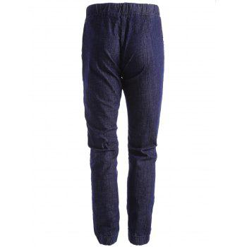 Stretchy Drawstring Jogger Jeans - DEEP BLUE 38