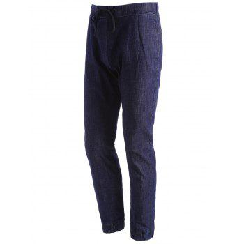 Stretchy Drawstring Jogger Jeans - DEEP BLUE 34