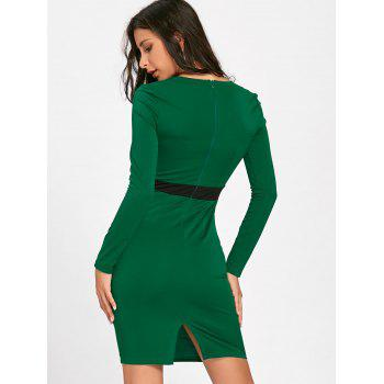 V Neck Two Tone Bodycon Dress - DEEP GREEN XL