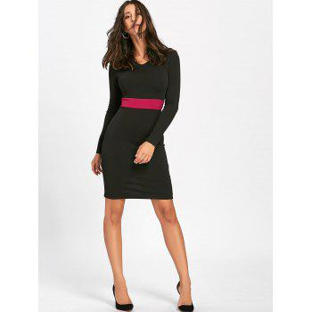V Neck Two Tone Bodycon Dress - BLACK 2XL