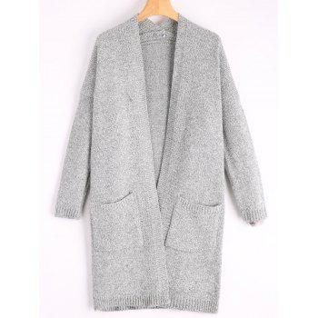 Pockets Long Sweater Cardigan - GRAY GRAY