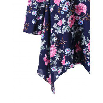 Plus Size Floral Dew Shoulder Handkerchief Blouse - DEEP BLUE 5XL