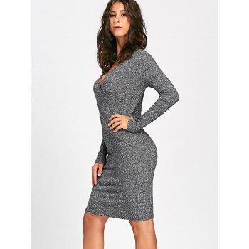 Long Sleeve Ribbed Surplice Knit Dress - GRAY M