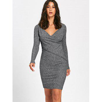 Long Sleeve Ribbed Surplice Knit Dress - GRAY L
