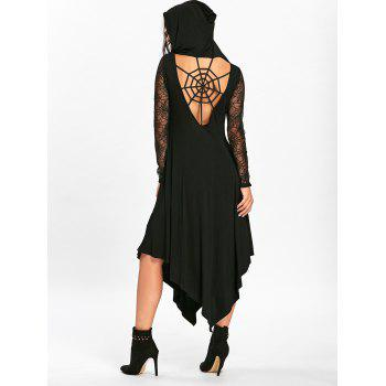 Halloween Spider Web Cut Out Midi Handkerchief Dress