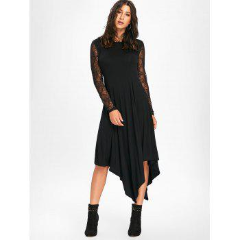 Halloween Spider Web Cut Out Midi Handkerchief Dress - L L