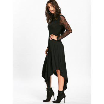 Halloween Spider Web Cut Out Midi Handkerchief Dress - BLACK BLACK