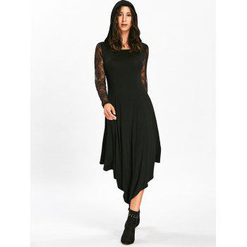 Halloween Spider Web Cut Out Midi Handkerchief Dress - BLACK 2XL