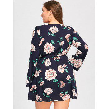 Plus Size Long Sleeve Floral Surplice Dress - BLACK BLUE 3XL