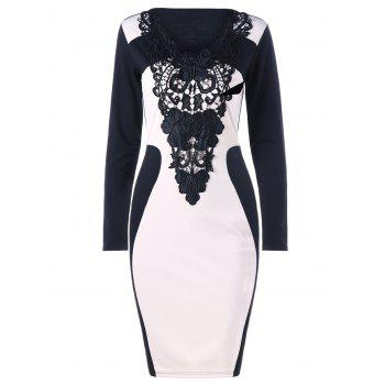 Crochet Panel Long Sleeve Bodycon Dress - WHITE AND BLACK 2XL