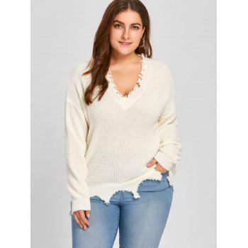 Plus Size V Neck Raw Hem Sweater - OFF WHITE XL