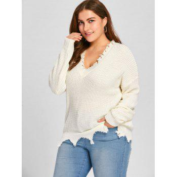 Plus Size V Neck Raw Hem Sweater - 5XL 5XL
