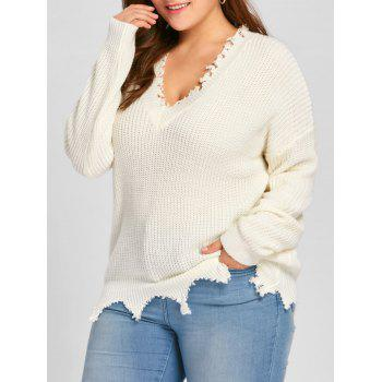 Plus Size V Neck Raw Hem Sweater - OFF-WHITE 5XL
