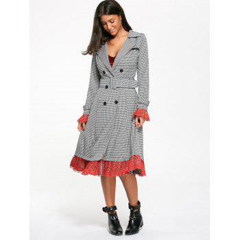 Belted Houndstooth Printed Lace Trim Long Coat - WHITE/BLACK M
