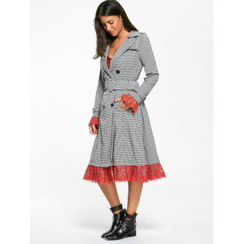 Belted Houndstooth Printed Lace Trim Long Coat - M M