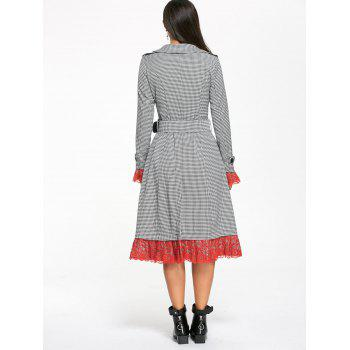 Belted Houndstooth Printed Lace Trim Long Coat - WHITE/BLACK L