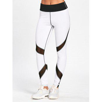 High Waisted Striped Skinny Leggings - WHITE AND BLACK XL
