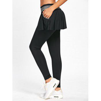 High Waist Skinny Gym Skirted Leggings - M M