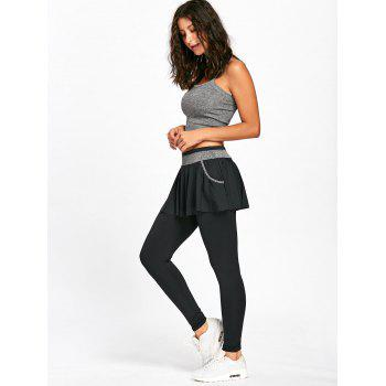 High Waist Skinny Gym Skirted Leggings - BLACK 2XL