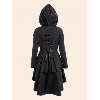 Plus Size Lace Up High Low Hooded Coat