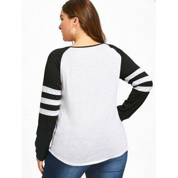 Plus Size Two Tone Stripes Raglan Sleeves T-shirt - WHITE/BLACK XL