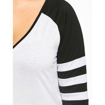 Plus Size Two Tone Stripes Raglan Sleeves T-shirt - WHITE/BLACK 2XL