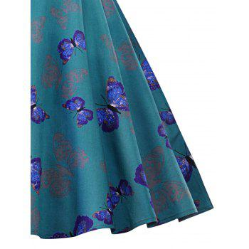 Vintage Butterfly Print Ruched Pin Up Dress - BLUE GREEN 2XL