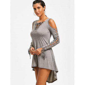 Lace Up Cold Shoulder Tee Dress - HEATHER GRAY M