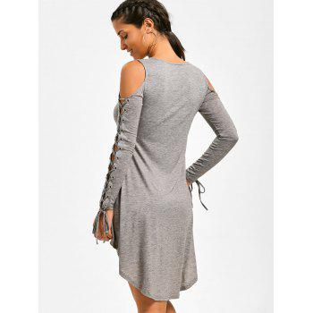 Lace Up Cold Shoulder Tee Dress - HEATHER GRAY HEATHER GRAY
