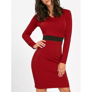 V Neck Two Tone Bodycon Dress - RED RED
