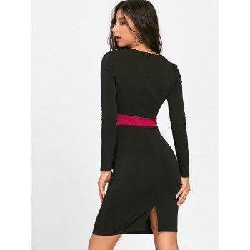 V Neck Two Tone Bodycon Dress - BLACK S