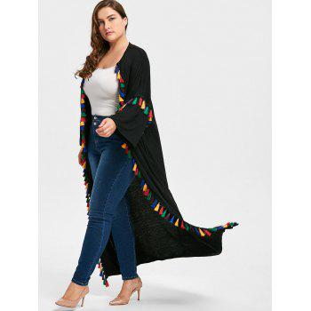 Tassel Drop Shoulder Plus Size Cardigan - BLACK BLACK
