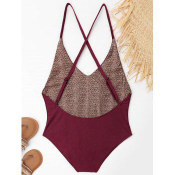 Embroidered Criss Cross Plus Size Swimsuit - WINE RED WINE RED
