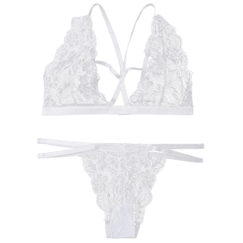 Plunge Lace Strappy Bralette Set - WHITE L